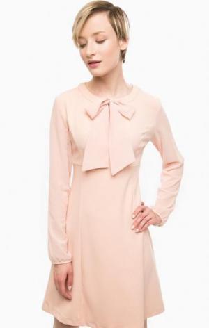 Короткое розовое платье с прозрачными рукавами POIS. Цвет: розовый