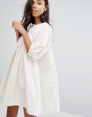 Ivana Helsinki Платье с рукавами-фонариками Moomin Liina. Цвет: серый