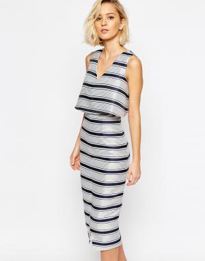 Lavish Alice Структурированное облегающее платье в полоску с укороченным топом Lavi. Цвет: мульти