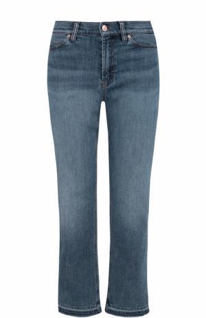 Укороченные расклешенные брюки с потертостями Escada Sport. Цвет: голубой