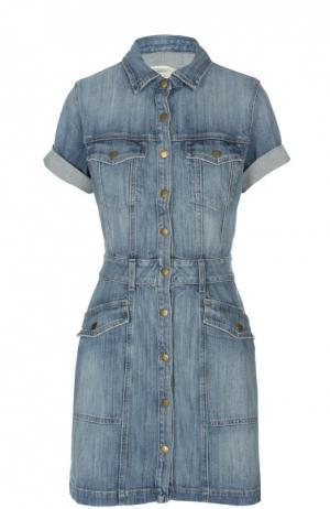 Джинсовое мини-платье с коротким рукавом Current/Elliott. Цвет: синий
