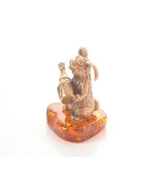 Фигура Заяц с бутылкой Aztek. Цвет: желтый, коричневый, светло-оранжевый
