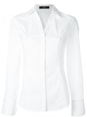 Приталенная рубашка Steffen Schraut. Цвет: белый
