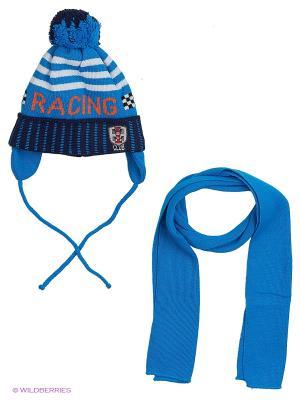 Шапка и шарф Grans. Цвет: синий, рыжий