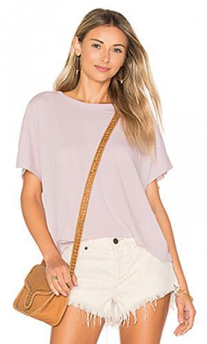 Укороченная футболка с круглым вырезом Enza Costa. Цвет: бледно-лиловый