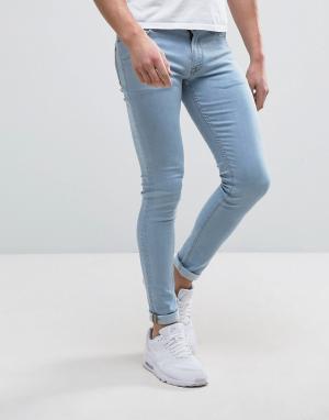 ASOS Ультразауженные выбеленные джинсы скинни. Цвет: синий