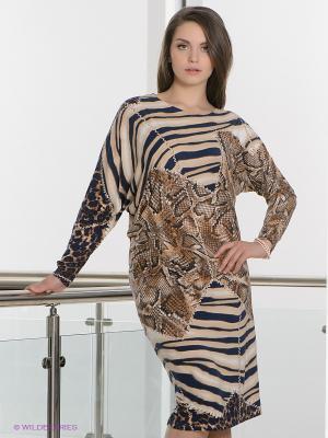 Платье МадаМ Т. Цвет: бежевый, синий