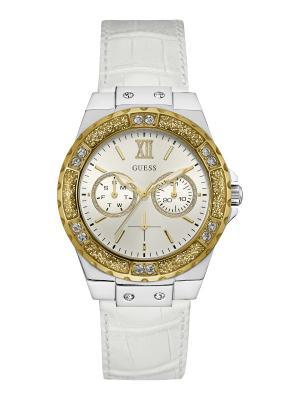 Часы GUESS. Цвет: серебристый, белый, золотистый