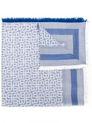 Жаккардовый платок с бахромой Bally. Цвет: синий
