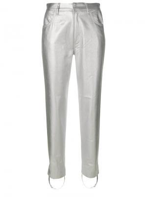 Приталенные брюки с металлическим отблеском Golden Goose Deluxe Brand. Цвет: серый