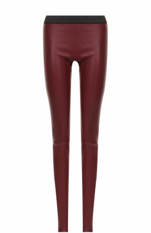 Кожаные брюки-скинни с контрастным поясом DROMe. Цвет: бордовый