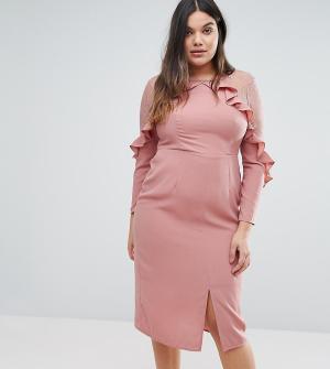 Truly You Платье с оборками на кокетке и кружевными вставками. Цвет: розовый