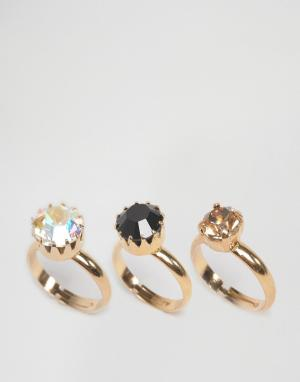 Krystal 3 кольца с кристаллами Swarovski. Цвет: серебряный