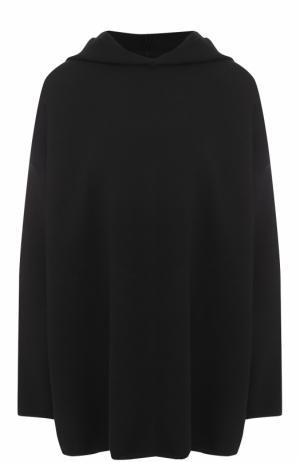 Шерстяной свитер свободного кроя с капюшоном Alaia. Цвет: черный