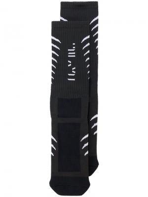 Носки с принтом позвоночника Unravel Project. Цвет: чёрный