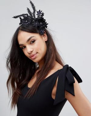 LoveRocks London Обруч для волос с цветами Races Day. Цвет: черный