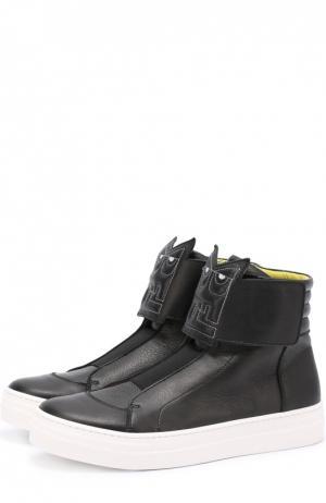 Высокие кожаные кеды с декором Fendi Roma. Цвет: черный