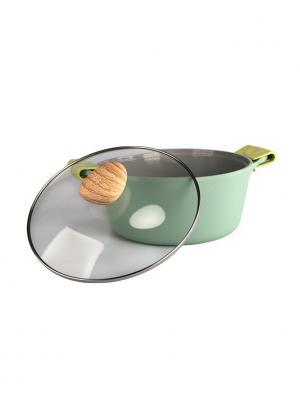 Кастрюля  GW-C24 24см, объем 4,5 л. со стеклянной крышкой Frybest. Цвет: серо-зеленый, светло-серый