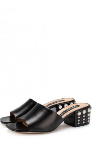 Кожаные мюли на декорированном каблуке Sergio Rossi. Цвет: черный