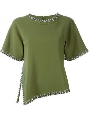 Декорированная футболка Tory Burch. Цвет: зелёный