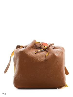 Сумка Jacky&Celine. Цвет: коричневый, горчичный, оранжевый