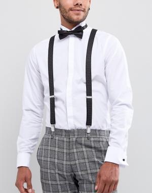 ASOS Черные подтяжки и галстук-бабочка. Цвет: черный