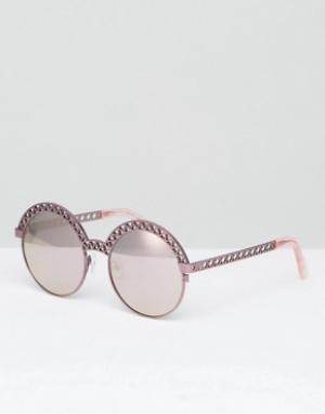 House of Holland Розовые круглые солнцезащитные очки с плоскими стеклами Holla. Цвет: розовый