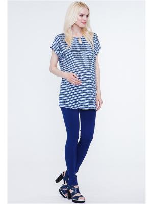 Блузка TUTTA MAMA. Цвет: темно-синий, белый, синий