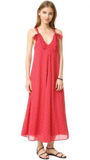 Вечернее платье Garden чуть ниже колен THE GREAT.. Цвет: picnic stitch