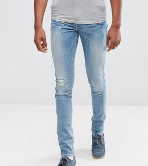 ASOS Синие выбеленные джинсы скинни с рваной отделкой TALL. Цвет: синий