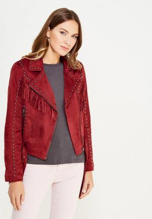 Куртка кожаная Glamorous. Цвет: бордовый