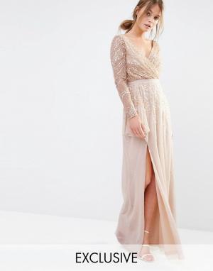 Frock and Frill Декорированное платье макси. Цвет: розовый