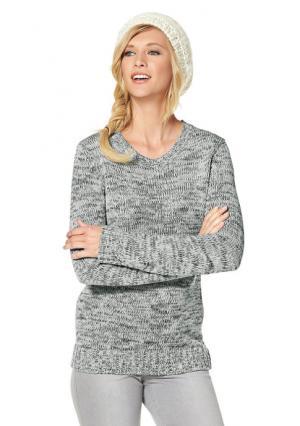 Пуловер CHEER. Цвет: молочно-белый/зелено-синий с рисунком