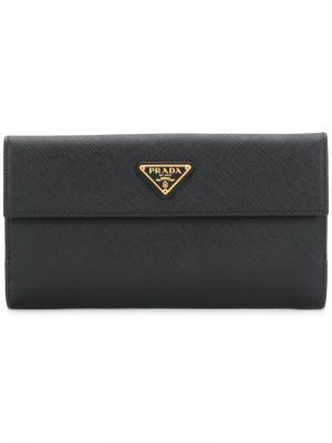 Континентальный кошелек Prada. Цвет: чёрный