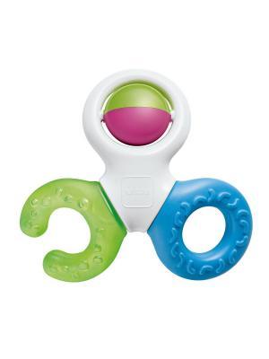 Прорезыватель-погремушка Bite&Play Teether MAM. Цвет: зеленый, голубой, белый