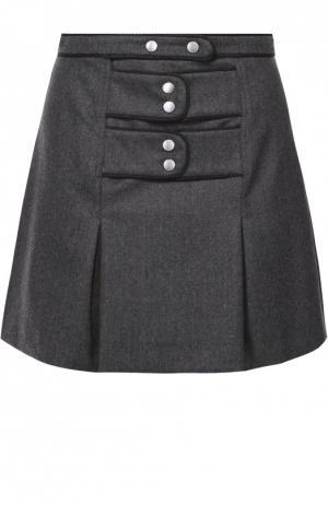 Мини-юбка со складками и декоративной отделкой Kenzo. Цвет: темно-серый