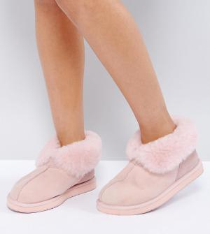 OZLANA Тапочки-ботинки из овчины Launceston. Цвет: розовый