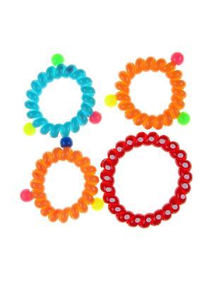 Резинка для волос (4 шт.) Happy Charms Family. Цвет: оранжевый, голубой, красный