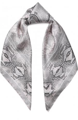 Шелковый платок с принтом Roberto Cavalli. Цвет: светло-серый