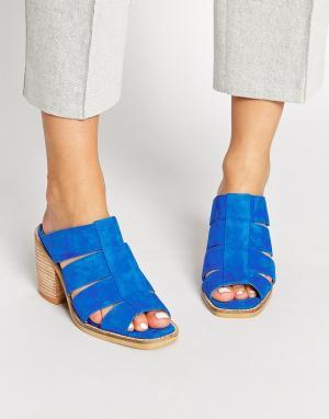 Shellys London Синие замшевые сабо на каблуке. Цвет: синий