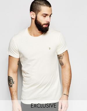 Farah Эксклюзивная футболка слим с логотипом F. Цвет: кремовый