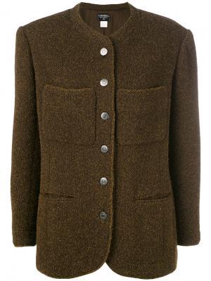 Однобортный пиджак Chanel Vintage. Цвет: коричневый