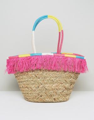 South Beach Соломенная сумка с бахромой и обернутыми ручками. Цвет: мульти