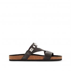 Туфли без задника кожаные CASTALUNA. Цвет: белый,черный