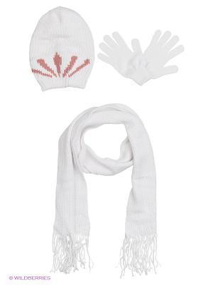 Шапка;  шарф; перчатки Krife. Цвет: белый, бледно-розовый, розовый