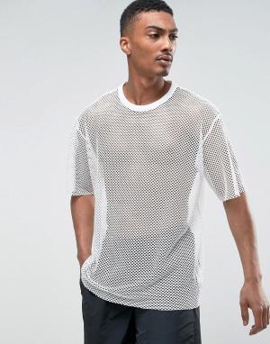 Weekday Сетчатая футболка. Цвет: белый