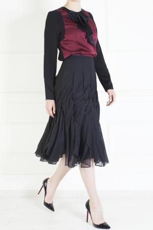 Юбка из шерсти и полиэстера Junya Watanabe. Цвет: черный