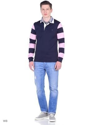 Лонгслив-поло Eden Park. Цвет: темно-синий, серый, розовый