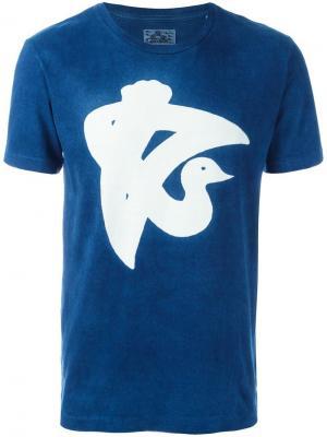 Футболка с принтом Blue Japan. Цвет: синий