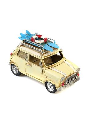 Модель Ретро Автомобиль белый, с фотормкой и копилкой 4х7см PLATINUM quality. Цвет: темно-бежевый